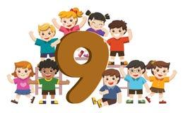 School kids and colorful number nine shaped. Back to School. Vector illustration set of school kids and colorful number nine shaped vector illustration