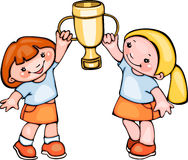 School kids with cup. Vector cartoon Royalty Free Stock Photography