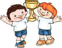 School kids with cup. Vector cartoon Stock Photos