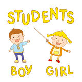 School kids - cute boy and girl Stock Photography