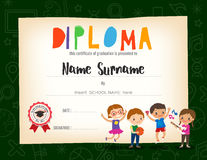 School Kids Diploma certificate background design template Royalty Free Stock Images
