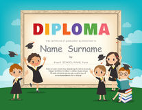 School Kids Diploma certificate design template Royalty Free Stock Images