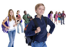 School Kids Diversity. Young kids are ready for school. Education, family, learning Royalty Free Stock Photos