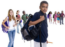 School Kids Diversity. Young kids are ready for school. Education, family, learning royalty free stock image