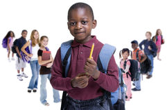 School Kids Diversity. Young kids are ready for school. Education, family, learning, diversity Stock Photos
