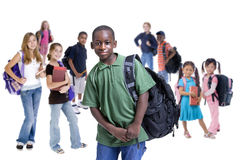 School Kids Diversity. Young kids are ready for school. Education, family, learning, diversity Royalty Free Stock Photography