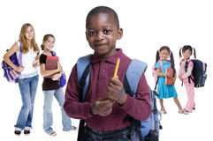 School Kids Diversity. Young kids are ready for school. Education, family, learning, diversity Stock Image