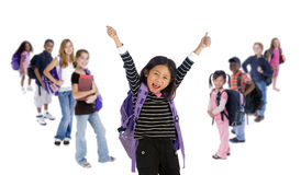 School Kids Diversity. Young kids are ready for school. Education, family, learning, diversity Royalty Free Stock Photos
