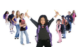 School Kids Diversity. Young kids are ready for school. Education, family, learning, diversity Royalty Free Stock Images