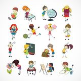 School kids doodle sketch. Decorative reading learning singing and playing football school children with backpack doodle sketch vector illustration Stock Photography