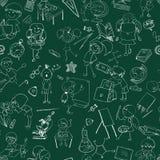 School kids doodle sketch seamless Stock Photos