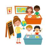 School kids education elementary school learning and people concept vector. Group school kids with pens and notebooks writing test in classroom. School kids vector illustration