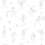School kids pattern boys and girls Stock Photos