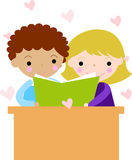 School kids reading book. Illustration of  two school kids reading book Stock Photos
