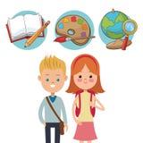 School kids ready activity education supplies. Vector illustration vector illustration