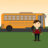 School Kids Riding School Bus Stock Images