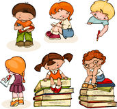 School kids. Set school  kids read books, write and draw Stock Image