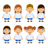 School Kids Set on White Background. Vector Stock Photos