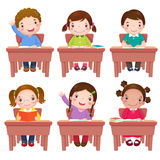 School kids sitting on table vector illustration
