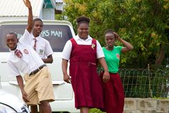School kids in St Kitts, Caribbean. Friendly school kids of St Kitts, Caribbean Royalty Free Stock Photos