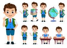 Free School Kids Student Vector Characters Set. Back To School Boy Cartoon Characters Stock Image - 143982521