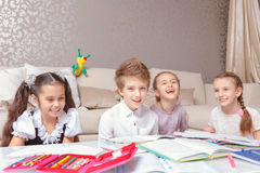 School kids study at home Royalty Free Stock Photo