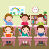 School kids studying in classroom royalty free illustration