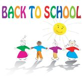 School kids and sun illustration Stock Image
