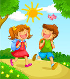 School kids. Two happy kids going to school stock illustration