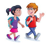 School Kids Walking with Backpacks. Cartoon of a school aged girl and boy walking and talking with backpacks on Stock Photo