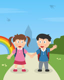 School Kids Walking in the Park. Two school kids with schoolbags holding hands and walking in a park. Eps file available Stock Image