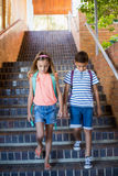 School kids walking on staircase Royalty Free Stock Images