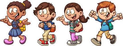 School kids. Kids walking and talking back to school. Vector clip art illustration with simple gradients. Each on a separate layer royalty free illustration