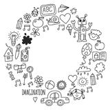 School, kindergarten. Happy children. Creativity, imagination doodle icons with kids. Play, study, grow Happy students Stock Photography