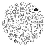 School, kindergarten. Happy children. Creativity, imagination doodle icons with kids. Play, study, grow Happy students Royalty Free Stock Photography