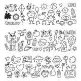School, kindergarten. Happy children. Creativity, imagination doodle icons with kids. Play, study, grow Happy students Royalty Free Stock Photos