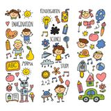 School, kindergarten. Happy children. Creativity, imagination doodle icons with kids. Play, study, grow Happy students Stock Images