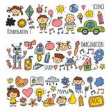 School, kindergarten. Happy children. Creativity, imagination doodle icons with kids. Play, study, grow Happy students Royalty Free Stock Image