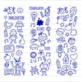 School, kindergarten. Happy children. Creativity, imagination doodle icons with kids. Play, study, grow Happy students Royalty Free Stock Photo