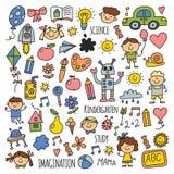 School, kindergarten. Happy children. Creativity, imagination doodle icons with kids. Play, study, grow Happy students Stock Photo
