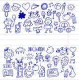 School, kindergarten. Happy children. Creativity, imagination doodle icons with kids. Play, study, grow Happy students Stock Photos