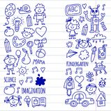 School, kindergarten. Happy children. Creativity, imagination doodle icons with kids. Play, study, grow Happy students Royalty Free Stock Images