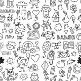 Seamless pattern School, kindergarten. Happy children. Creativity, imagination doodle icons with kids. Play, study, grow. School, kindergarten. Happy children Royalty Free Stock Photos