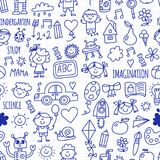 Seamless pattern School, kindergarten. Happy children. Creativity, imagination doodle icons with kids. Play, study, grow Royalty Free Stock Photos