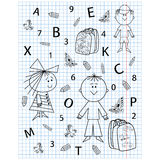 School kit on notebook sheet. School kit hand drawing in notebook sheet, vector illustration Royalty Free Stock Photography