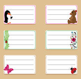 School labels with butterfly and flowers Royalty Free Stock Image