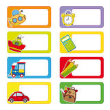 School labels. Stickers transport and objects for school Royalty Free Stock Image