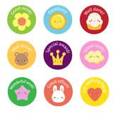School labels for teachers. Award stickers for pupils, kids. With cute symbols and motivational slogans Stock Photography