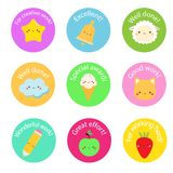 School labels for teachers. Award stickers for pupils, kids. With cute symbols and motivational slogans royalty free illustration