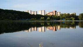 School Lake in sunset light in Zelenograd district of Moscow, Russia stock video